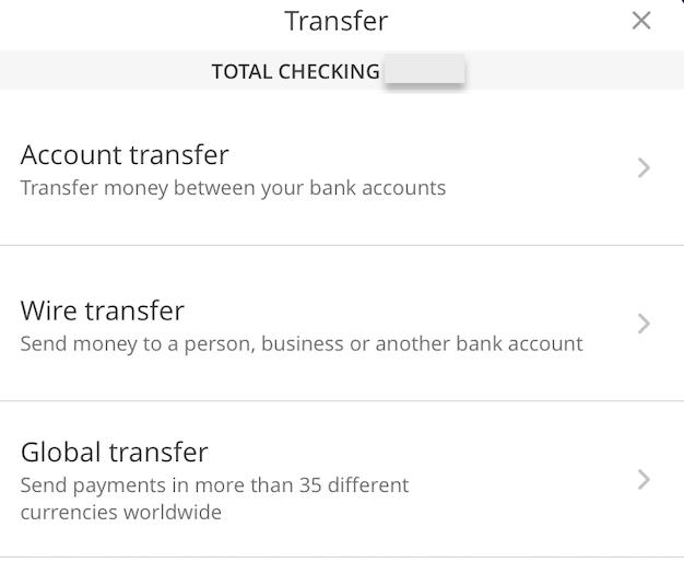 Chase送金方法選択画面
