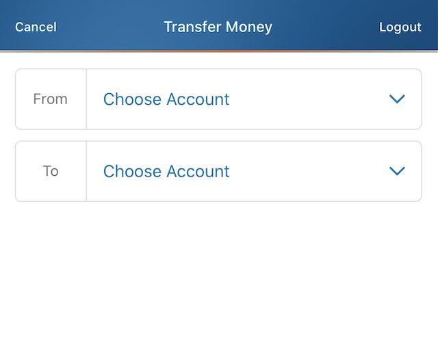 Discoverbank送金先選択画面