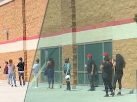 薬局入店ために並ぶ人々